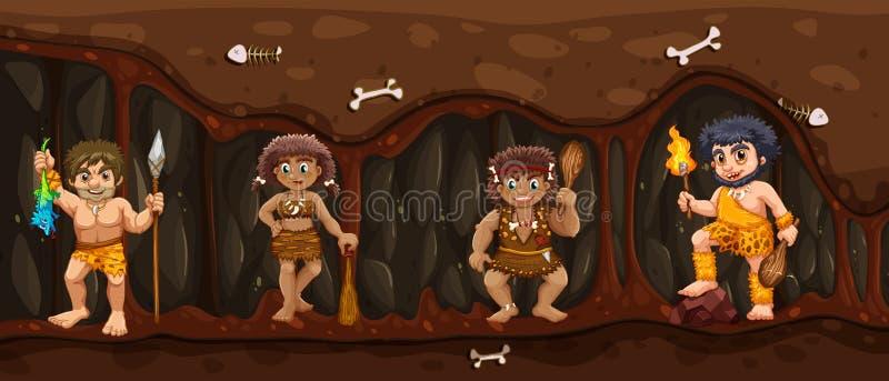 Homme des cavernes à l'intérieur de la caverne foncée illustration stock