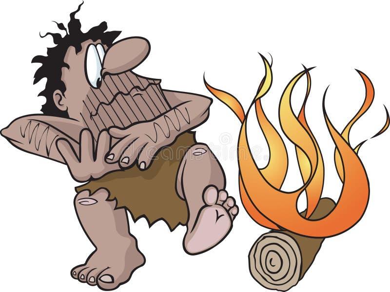 Homme des cavernes avec l'incendie illustration stock