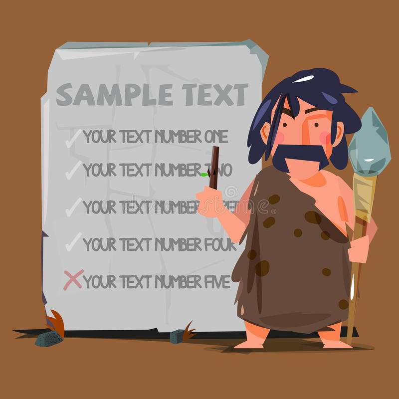 Homme des cavernes avec la pierre énorme pour remplacer votre texte concept d'âge de pierre illustration de vecteur