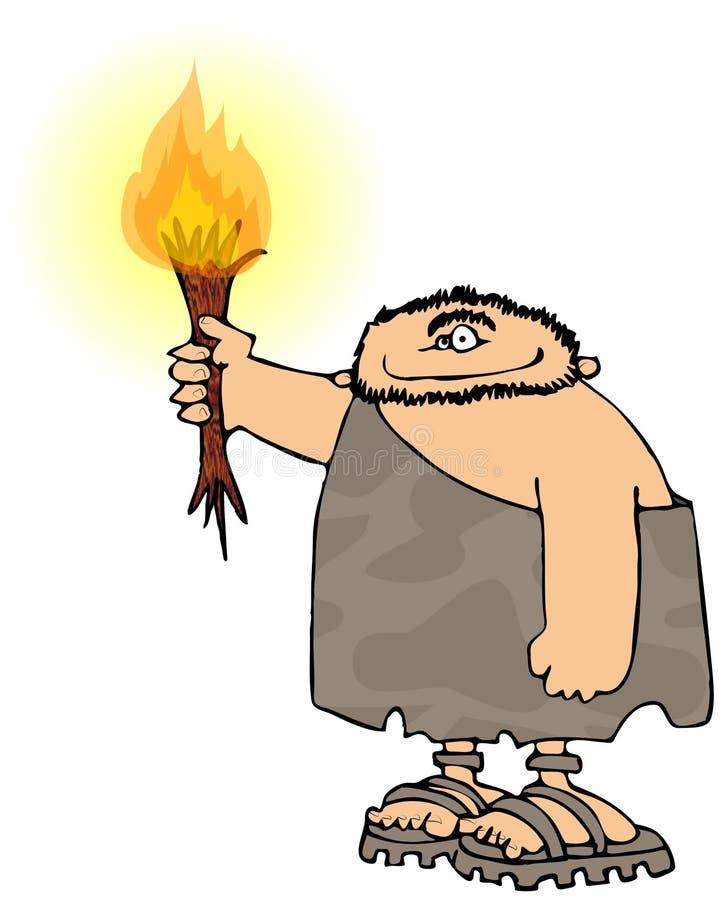 Homme des cavernes avec une torche illustration de vecteur