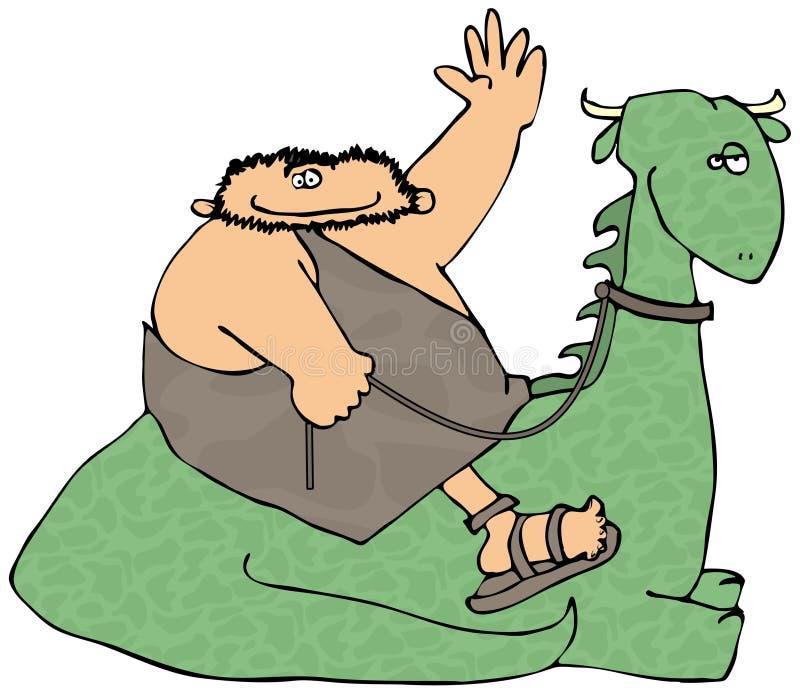 Homme des cavernes conduisant un dinosaur illustration stock