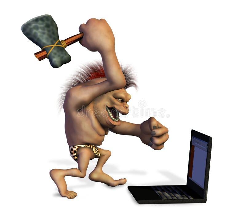 Homme des cavernes détruisant un ordinateur portatif illustration libre de droits