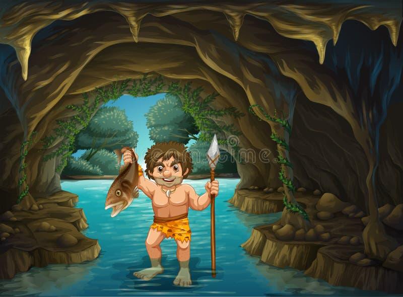 Homme des cavernes et poissons illustration de vecteur