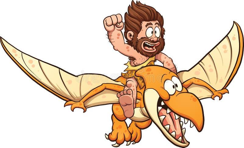 Homme des cavernes montant un ptérodactyle illustration de vecteur