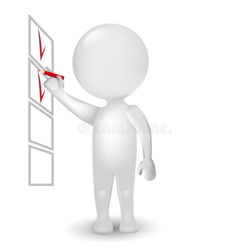 homme des personnes de race blanche 3d avec le logo de vecteur d'icône de liste de contrôle illustration de vecteur