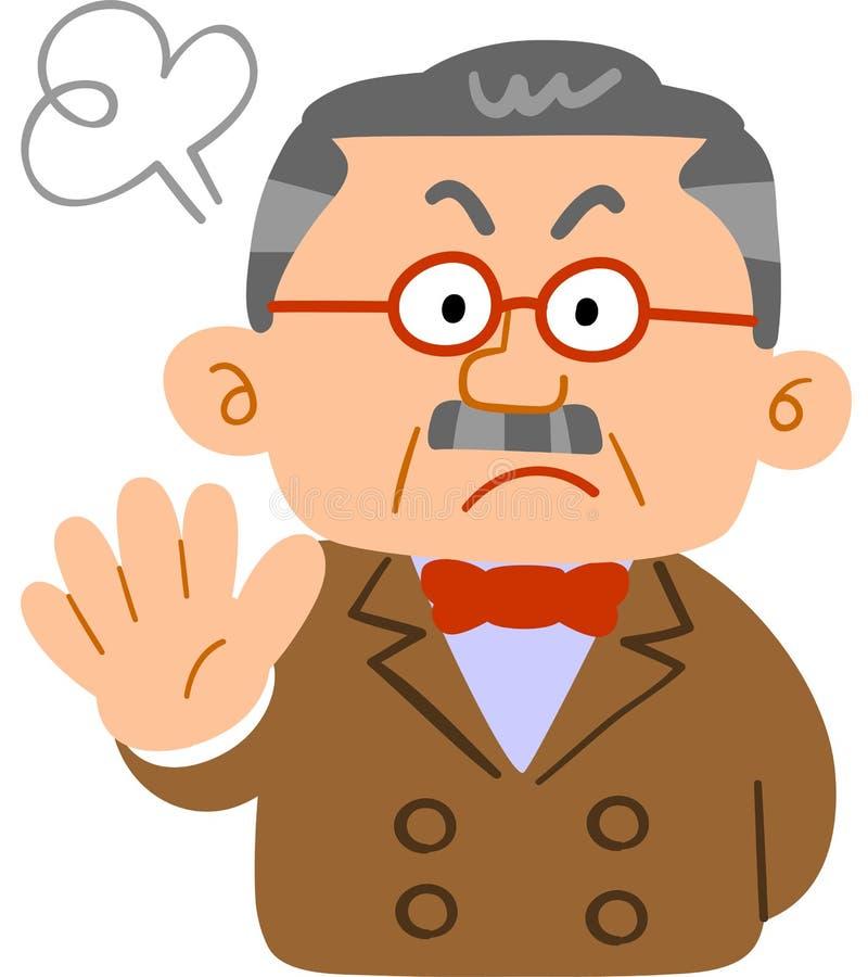 Homme des personnes riches qui refusent le corps supérieur de _de président de _de colère illustration stock