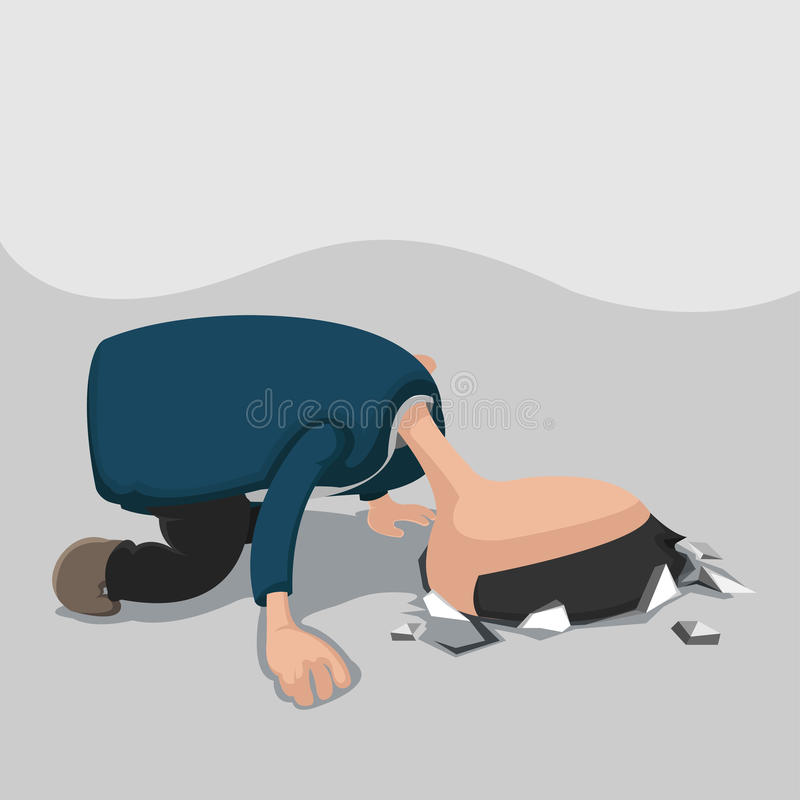 Homme Dig Head Hole Ground Vector illustration stock