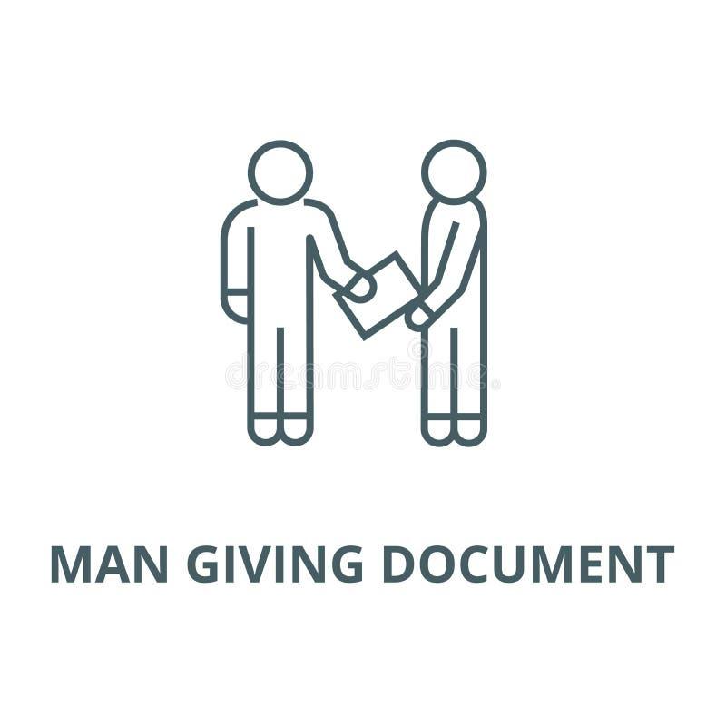 homme donnant la ligne icône, concept linéaire, signe d'ensemble, symbole de vecteur de document illustration libre de droits