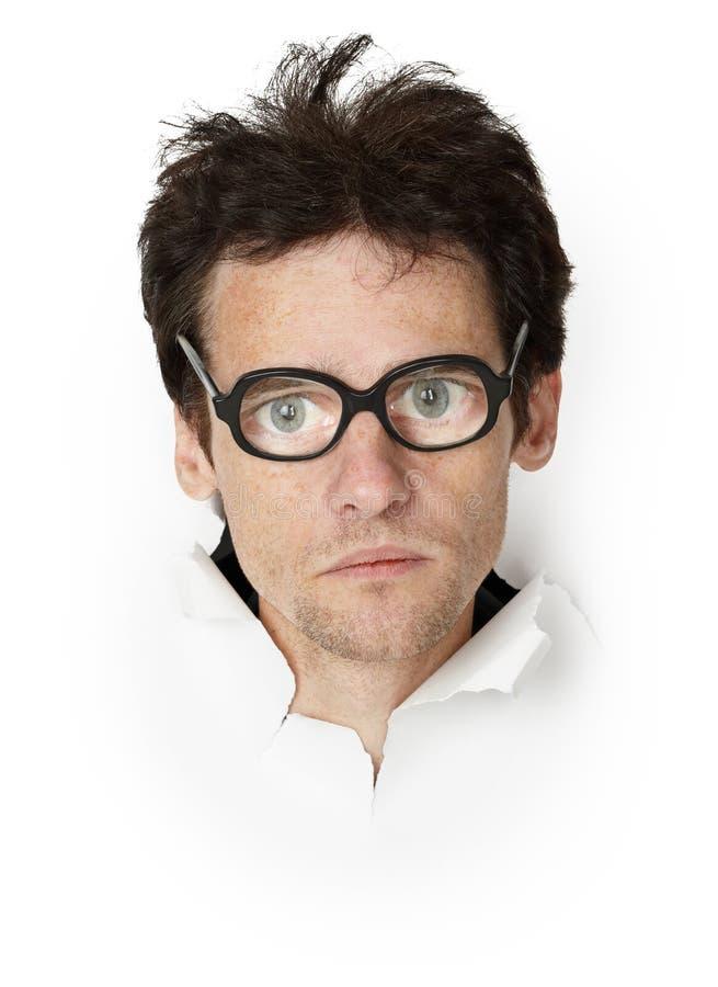 Homme drôle dans lunettes démodés image stock