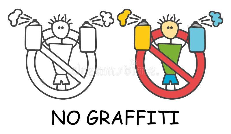 Homme drôle de bâton de vecteur avec un pulvérisateur chez le style des enfants Aucun graffiti aucune interdiction rouge de signe illustration de vecteur