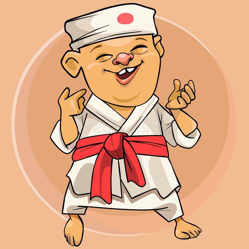 Homme drôle de karaté de bande dessinée dans le kimono blanc japonais illustration libre de droits