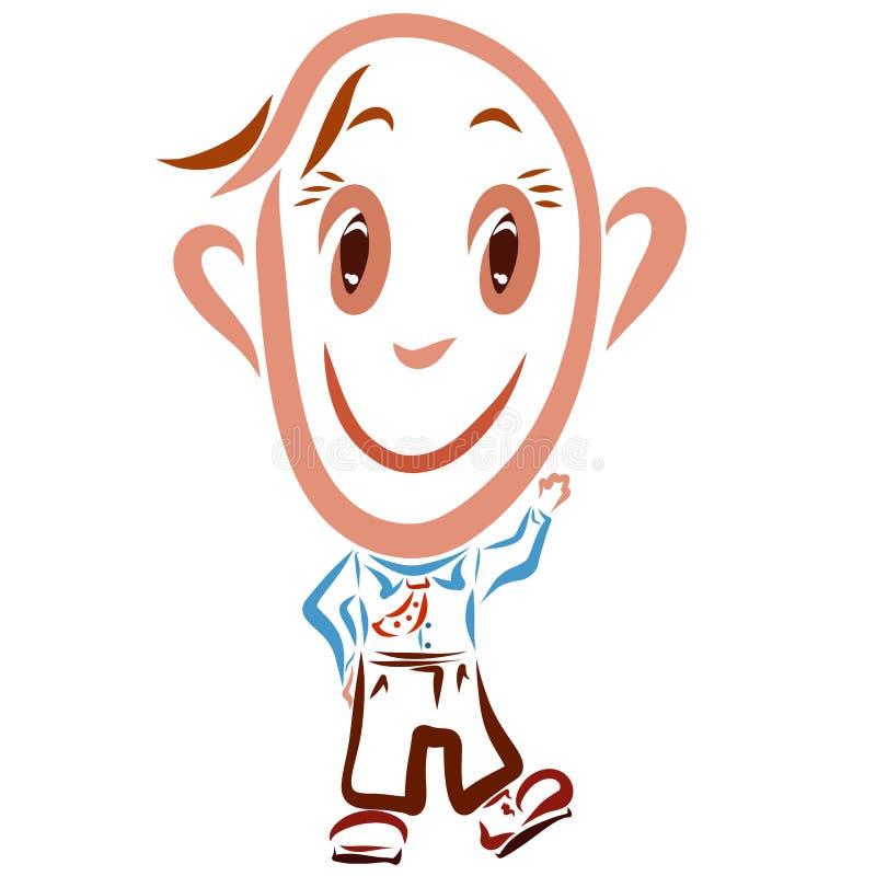 Homme drôle de sourire avec la grande tête, émotions illustration libre de droits