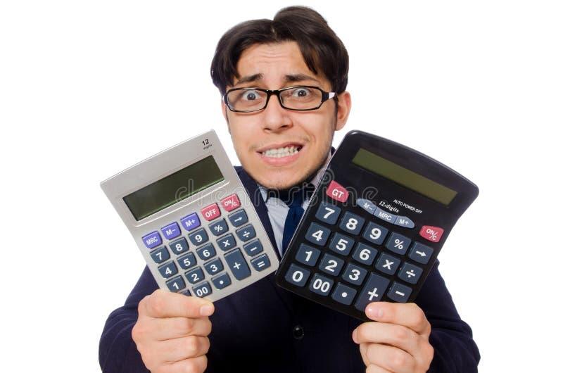 Homme drôle avec la calculatrice d'isolement sur le blanc photographie stock libre de droits