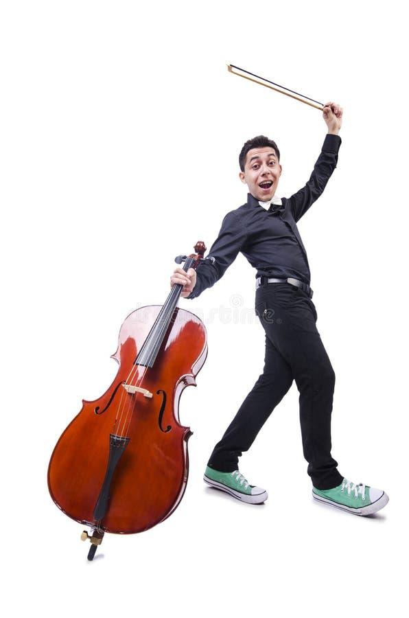 Homme Drôle Avec Le Violon Images stock