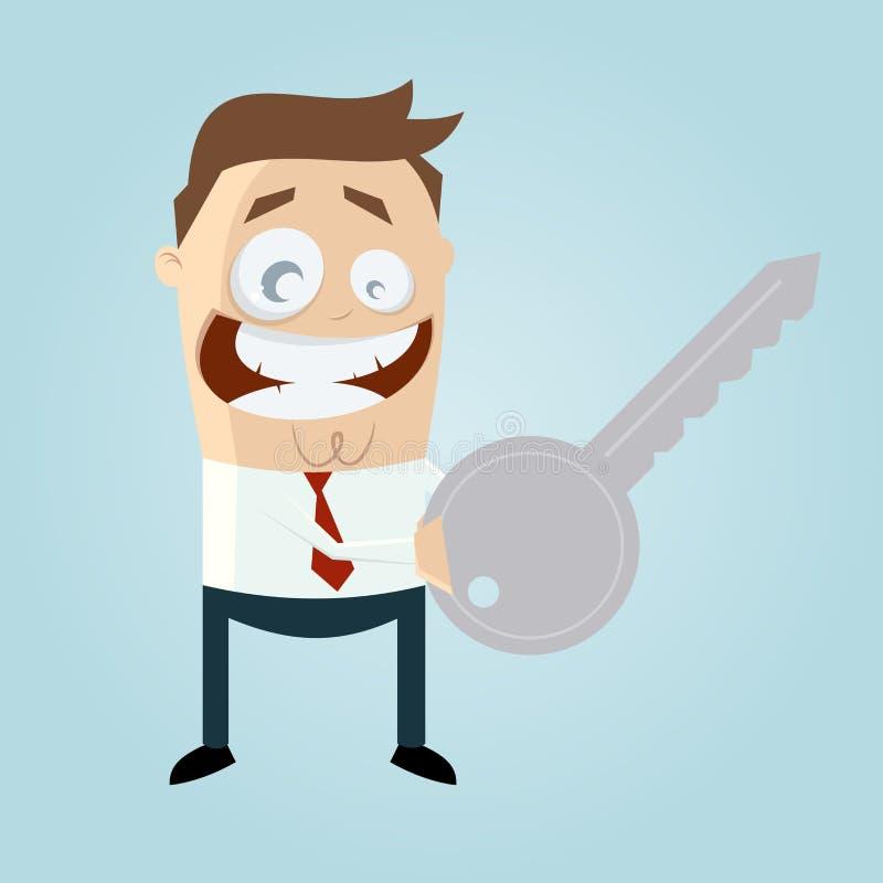 Homme drôle de bande dessinée avec une clé illustration de vecteur