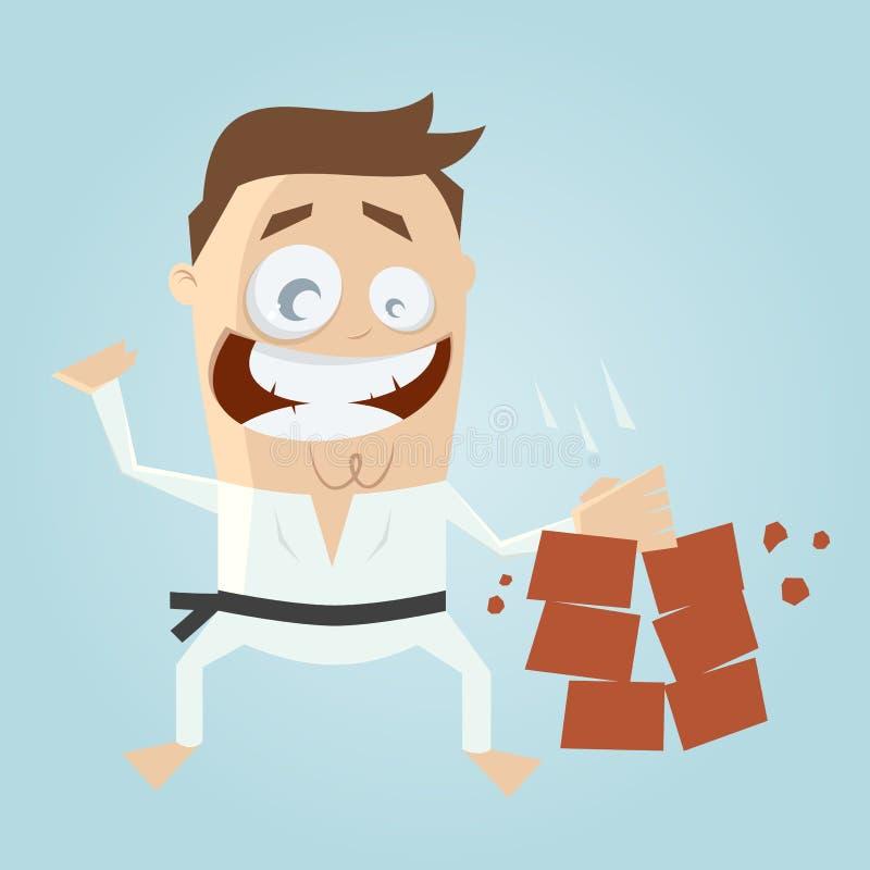 Homme drôle de karaté de bande dessinée frappant des briques illustration de vecteur