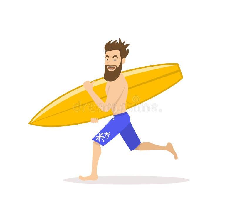 Homme drôle de surfer courant avec la planche de surf illustration de vecteur