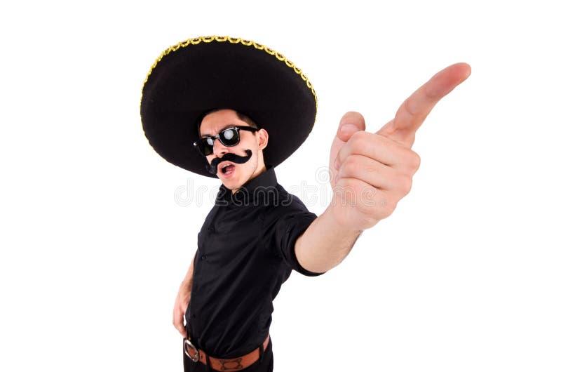 Homme drôle utilisant le chapeau mexicain de sombrero d'isolement images stock