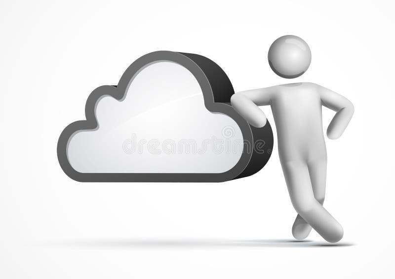 homme du vecteur 3d se penchant sur un nuage illustration de vecteur