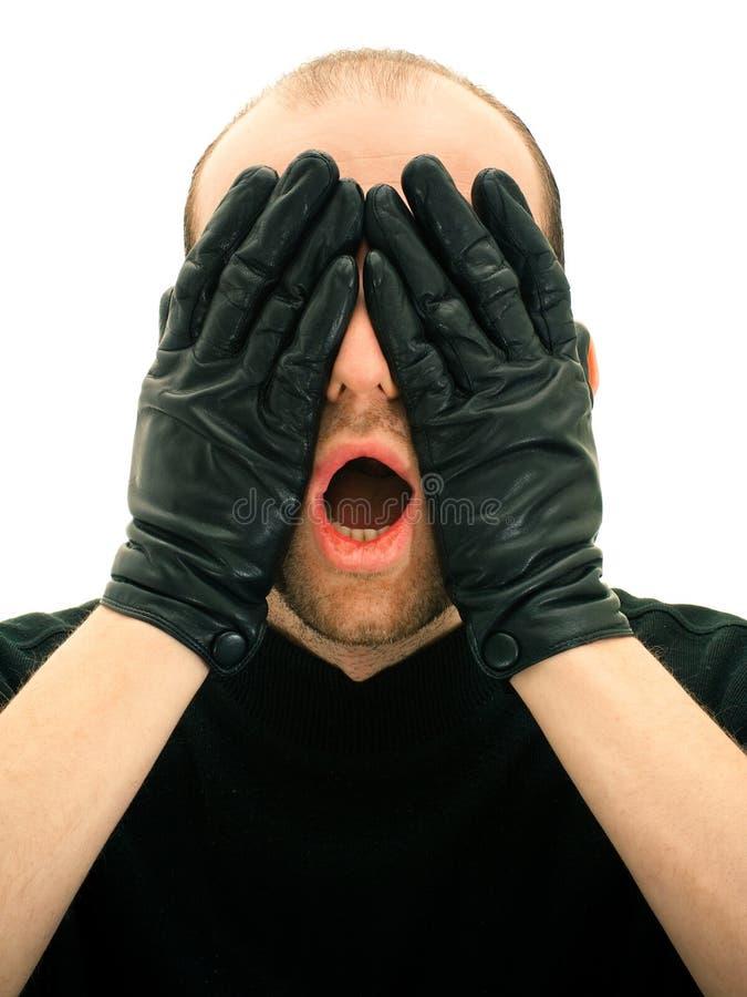 Homme effrayé photographie stock libre de droits