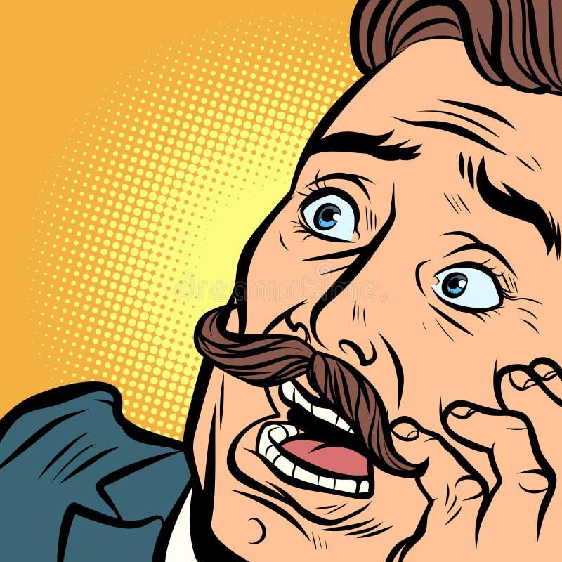 Homme effrayé avec une moustache illustration stock