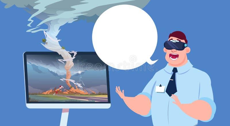 Homme effrayé en verres 3d virtuels observant l'émission des actualités de dommages d'ouragan de tornade au sujet de trombe de te illustration stock
