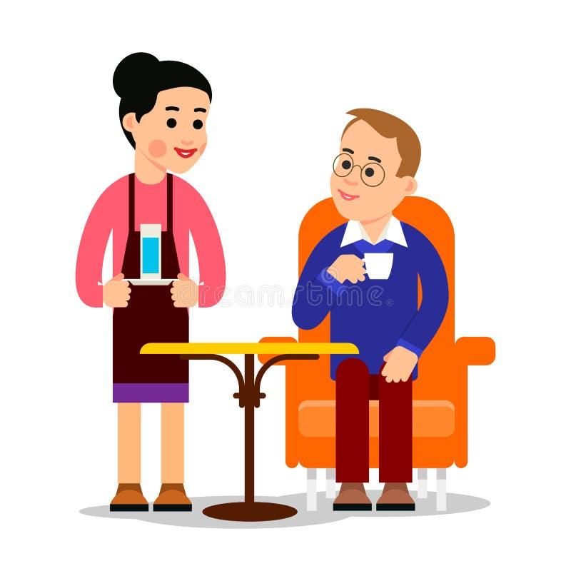 Homme en caf? Le jeune type s'assied en café avec la tasse de café, serveur lui a apporté l'eau Service à la clientèle dans un re illustration libre de droits