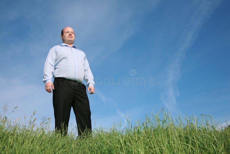 Homme en glaces sur un pré photo libre de droits