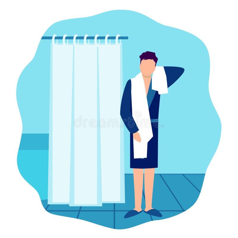 Homme en peignoir et serviette dans la salle de bains illustration stock