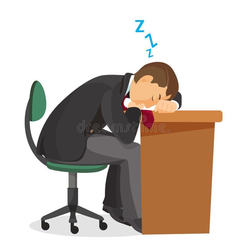 Homme endormi à la vue de côté de bureau Mâle dormant sur la table illustration libre de droits