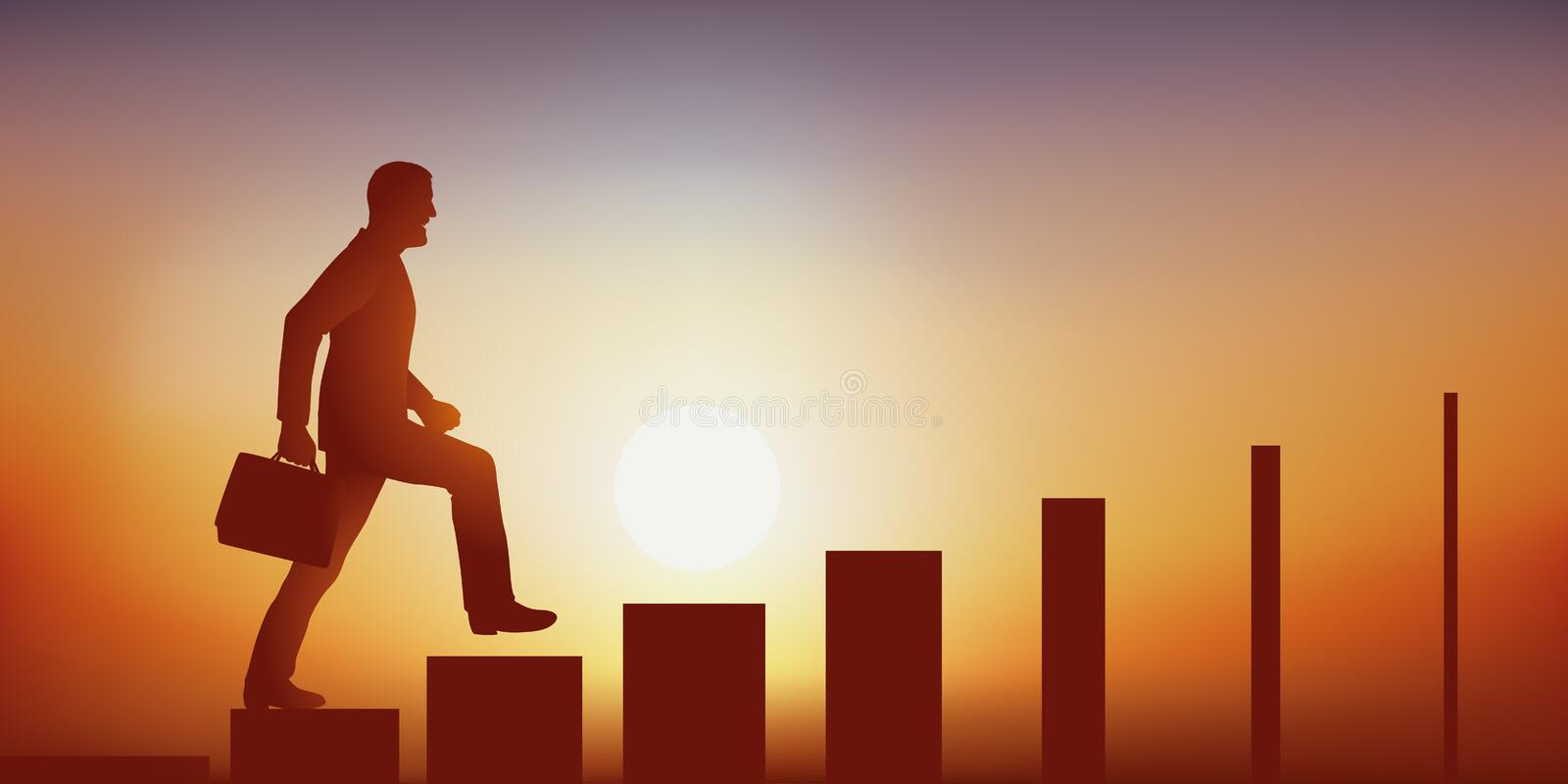 Symbol of the difficulty of accessing leadership, with a man symbolically climbing stairs whose steps are narrowing. Concept of the difficulty to climb in the royalty free illustration