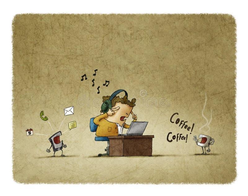 Homme essayant de travailler entouré par des distractions illustration de vecteur