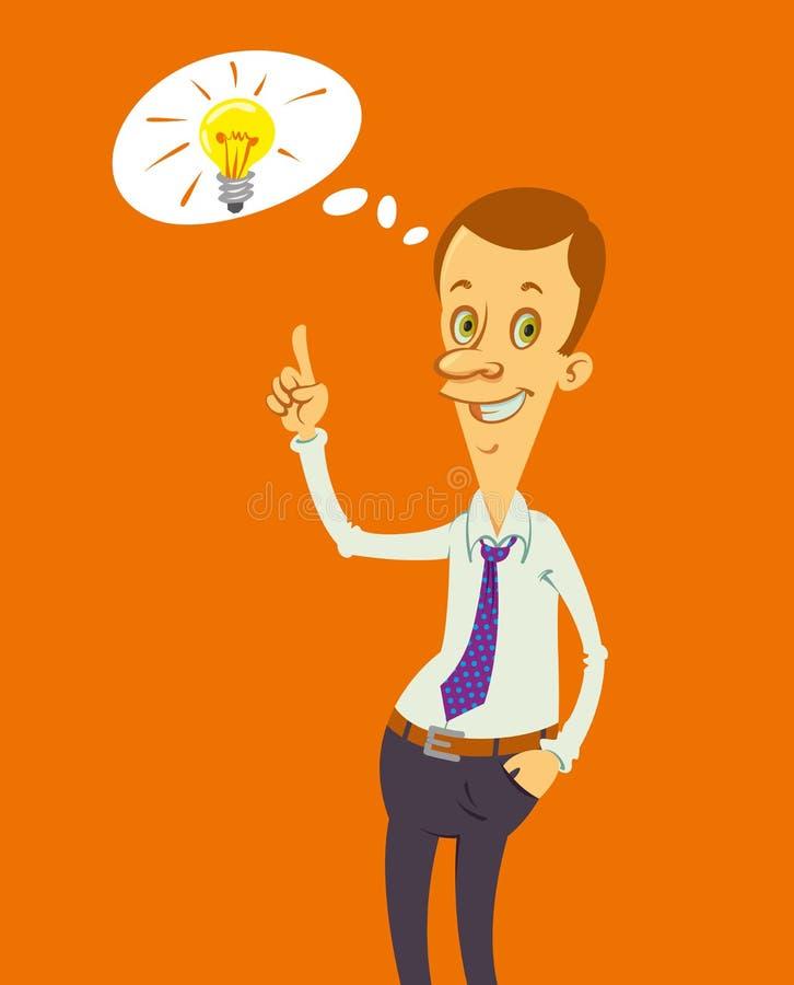 Homme et ampoule illustration stock