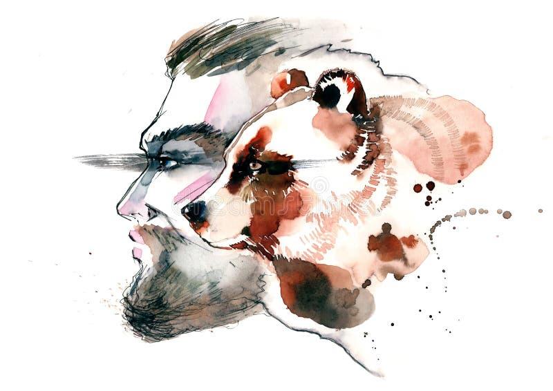 Homme et animal illustration stock