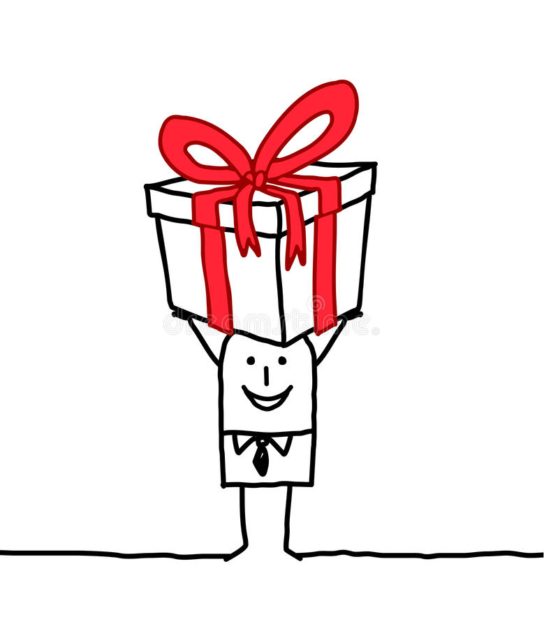 Homme et cadeau illustration de vecteur