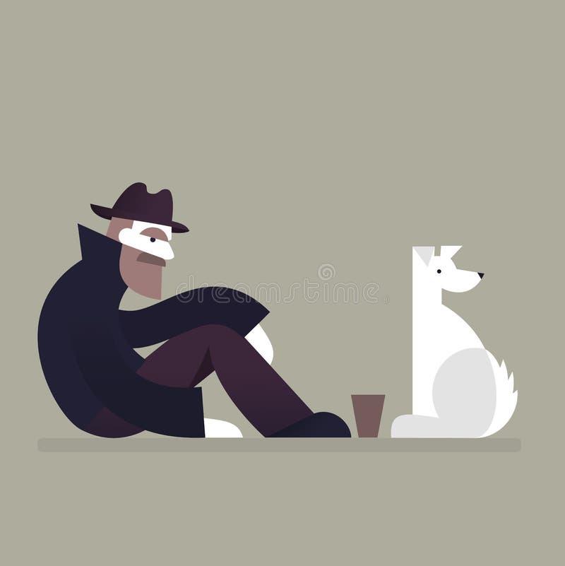 Homme et chien sans abri illustration stock