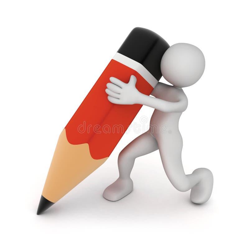 Homme et crayon illustration stock