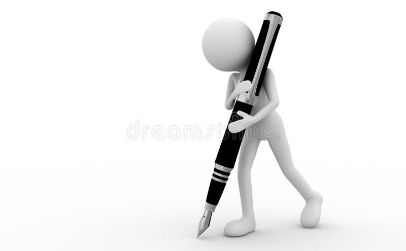 Homme et crayon lecteur illustration stock