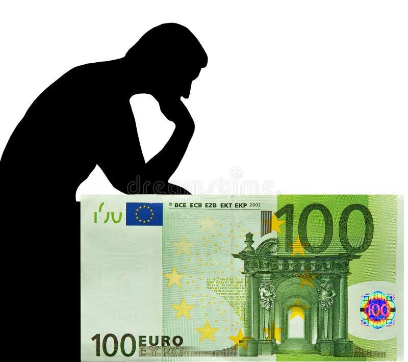 Homme et euro. Penser à l'argent. photo libre de droits