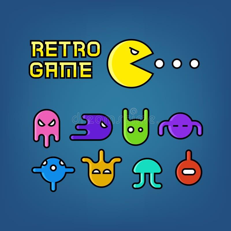 Homme et fantômes de Pac pour l'ensemble de vecteur de jeu d'ordinateur d'arcade illustration stock