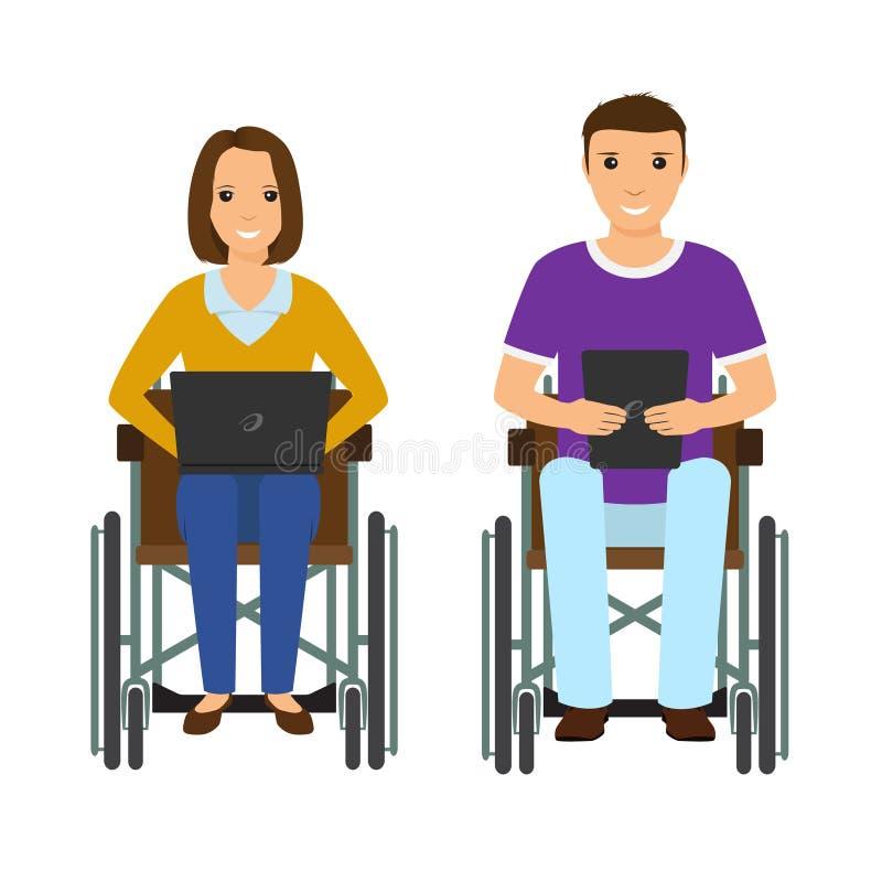 Homme et femme électroniques de personnes de difficultés scolaires dans le fauteuil roulant Mâle et femelle invalides avec l'ordi illustration stock