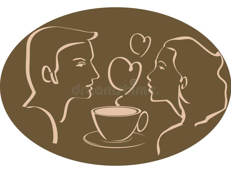 Homme et femme au-dessus de cuvette de café ou de thé avec le coeur illustration libre de droits