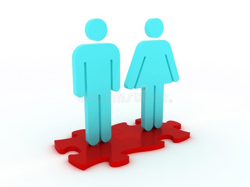 Homme et femme au-dessus de puzzle photographie stock libre de droits
