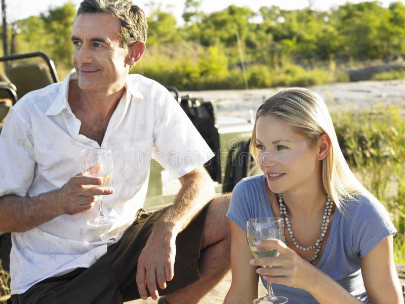 Homme et femme avec des verres à vin dehors images libres de droits
