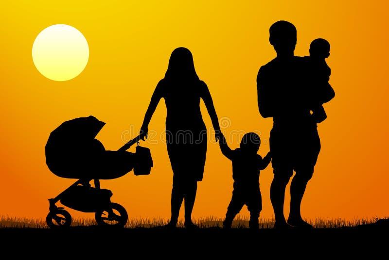 Homme et femme avec deux enfants avec la voiture d'enfant à l'aube illustration de vecteur