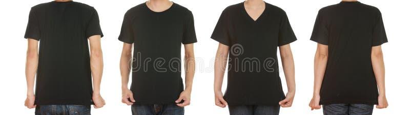 Homme et femme avec le T-shirt noir vide image stock