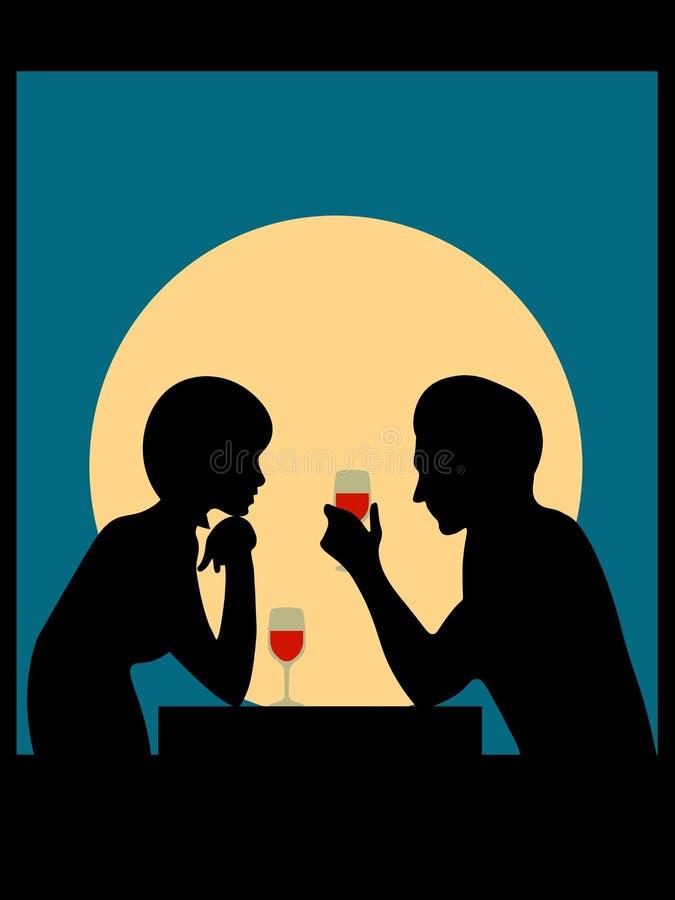 Homme et femme contre la lune illustration libre de droits