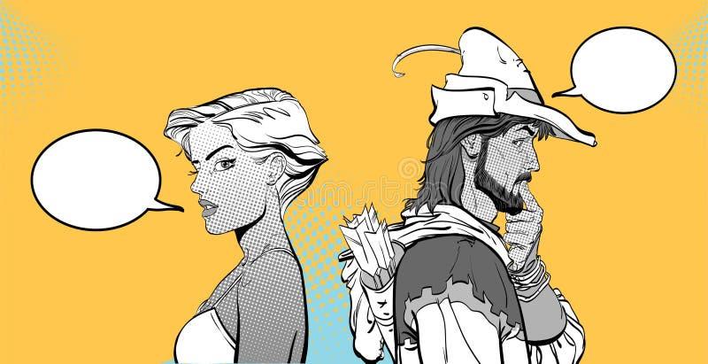 Homme et femme Couples pensant à quelque chose Paires étonnées Fille moderne et légende médiévale Robin Hood Défenseur de illustration stock