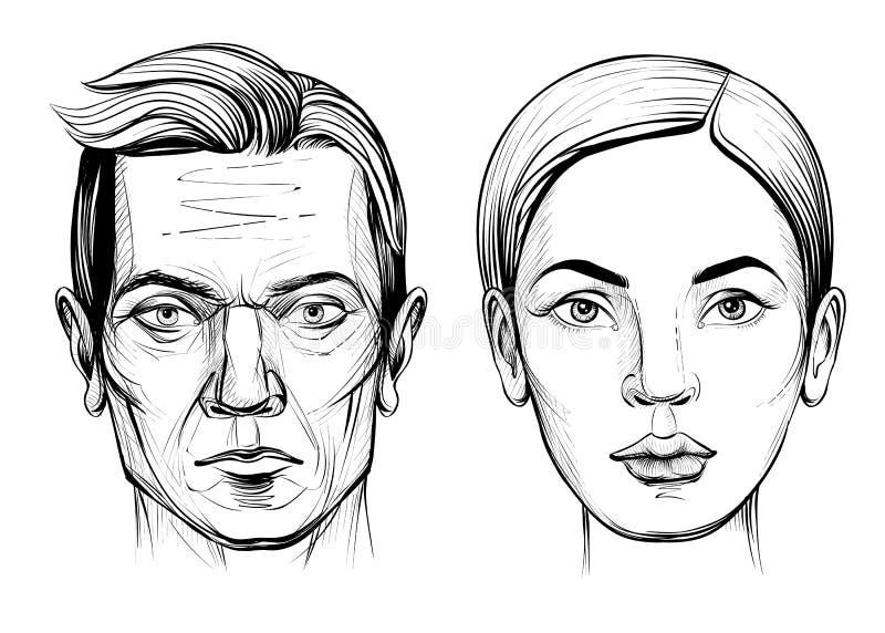 Homme et femme, croquis de portrait de vecteur illustration libre de droits