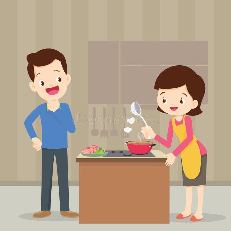 Homme et femme dans la cuisine illustration libre de droits